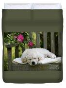 Golden Retriever Puppy Sleeping Duvet Cover