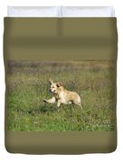 Golden Retriever Running Duvet Cover