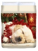 Golden Retriever Under Christmas Tree Duvet Cover