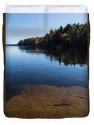 Golden Ripples Bedrock - Fall Reflection Tranquility Duvet Cover
