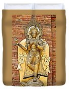 Golden Sculpture In A Hindu Temple In Patan Durbar Square In Lalitpur-nepal Duvet Cover