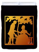 Golden Silhouette Garden Proposal Will You Marry Me Duvet Cover