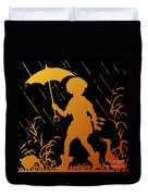 Golden Silhouette Of Child And Geese Walking In The Rain Duvet Cover