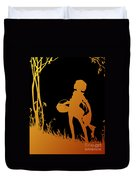 Golden Silhouette Of Child With Basket Walking In The Woods Duvet Cover