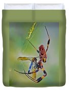 Golden Silk Orb With Blue Dragonfly Duvet Cover