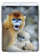Golden Snub-nosed Monkey And Young China Duvet Cover