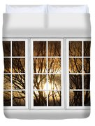 Golden Sun Silhouetted Tree Branches White Window View Duvet Cover