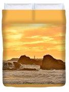 Golden Sunset At Ruby Beach Duvet Cover