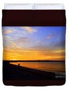 Golden Sunset On The Harbor Duvet Cover