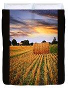 Golden Sunset Over Farm Field In Ontario Duvet Cover