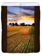 Golden Sunset Over Farm Field With Hay Bales Duvet Cover