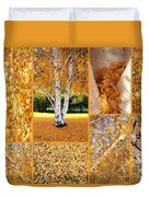 Golden Weeping Birch Tree Collage Duvet Cover