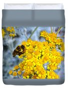 Golden Yarrow And Visitor Duvet Cover