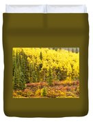 Golden Yellow Fall Boreal Forest In Yukon Canada Duvet Cover
