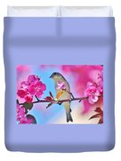 Goldfinch Behind Pink Blossoms 031015aaa Duvet Cover