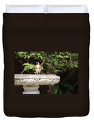 Goldfinch On Birdbath Duvet Cover