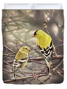 Goldfinches In The Rain Duvet Cover