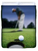 Golf Ball Near Cup Duvet Cover