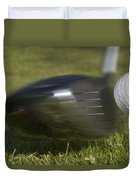 Golf Ball On Tee Hit By Driver Duvet Cover