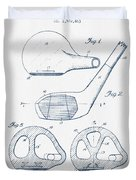 Golf Club Patent Drawing From 1926 - Blue Ink Duvet Cover