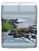 Golf Course On An Island, Pebble Beach Duvet Cover