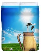 Golf Equipment And Ball On Golf Course Duvet Cover