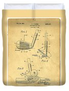 Golf Sand Wedge Patent On Aged Paper Duvet Cover