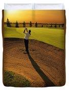 Golfer Taking A Swing From A Golf Bunker Duvet Cover