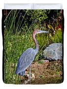 Goliath Heron By Water Duvet Cover