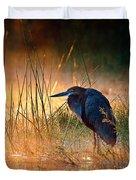 Goliath Heron With Sunrise Over Misty River Duvet Cover