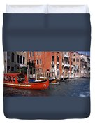 Gondolas In A Canal, Grand Canal Duvet Cover