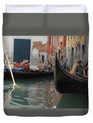 Gondolas In Venice Duvet Cover