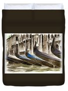 Gondolas-in-waiting   Venice Duvet Cover