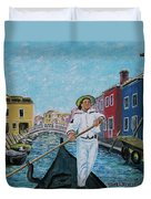 Gondolier At Venice Italy Duvet Cover