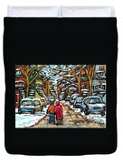 Good Day In January For Winter Stroll Snowy Trees And Cars Verdun Street Scene Painting Montreal Art Duvet Cover