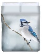 Gorgeous Blue Jay In The Snow Duvet Cover