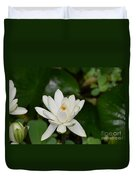 Gorgeous White Lotus Flower Blossom Duvet Cover