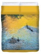 Goslings Morning Swim Duvet Cover