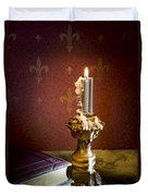 Gothic Scene With Candle And Gilt Edged Books Duvet Cover