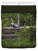 Superbike On Creek Bridge Duvet Cover