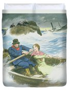 Grace Darling And Her Father Rescuing Duvet Cover