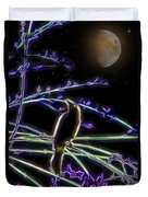 Grackle In The Willow Tree Duvet Cover