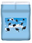 Graduation Mortar Boards Duvet Cover