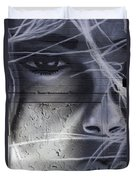 Graffiti Art With Mixed Textures Duvet Cover