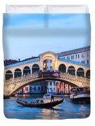 Grand Canal And Rialto Bridge At Dusk - Venice Duvet Cover