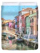 Grand Canal Burano  Venice Duvet Cover