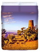 Grand Canyon National Park Golden Hour Watchtower Duvet Cover