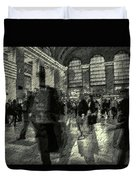 Grand Central Abstract In Black And White Duvet Cover