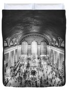 Grand Central Terminal Birds Eye View Bw Duvet Cover
