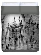 Grand Central Terminal Clock Birds Eye View II Bw Duvet Cover
